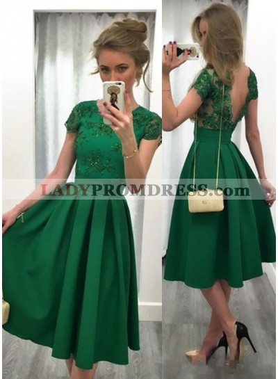 Cheap A-Line/Princess Emerald Satin Short Prom Dresses 2020