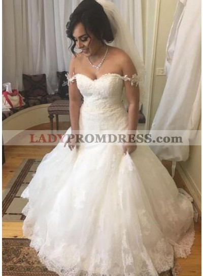 2021 A Line Sweetheart With Straps Lace Wedding Dresses