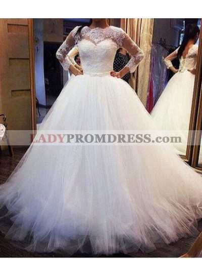 2020 Cheap A Line Long Sleeves Lace Tulle Wedding Dresses