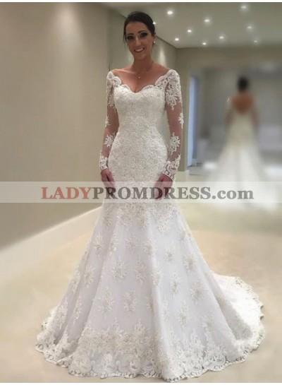 Charming Mermaid Long Sleeves Lace V Neck 2021 Wedding Dresses