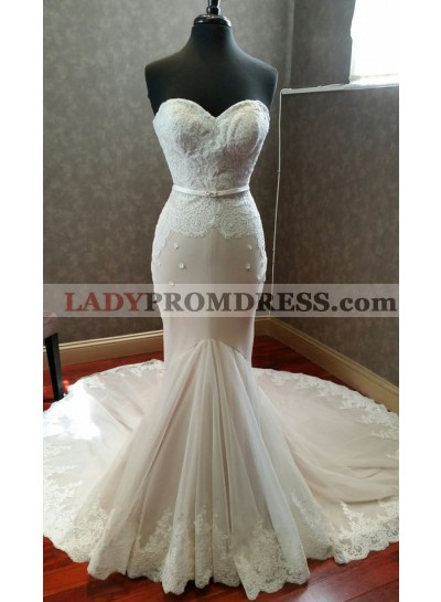 Mermaid Sweetheart Lace Long Train 2021 Wedding Dresses