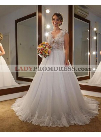 Elegant A Line Tulle With Lace 2021 Capped Sleeves Wedding Dresses
