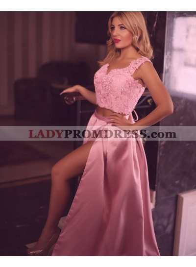 Newly A-Line/Princess Satin Pink Two Pieces 2021 Prom Dresses