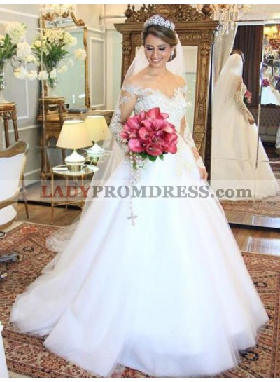 2021 Elegant A Line Off The Shoulder Long Sleeves Wedding Dresses