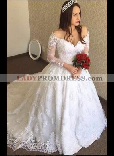 Classic A Line V Neck Long Sleeves 2021 New Wedding Dresses