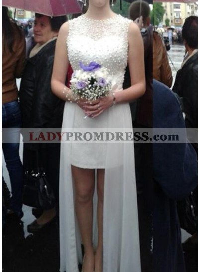 Cheap A Line Chiffon High Low Wedding Dresses With Pearls