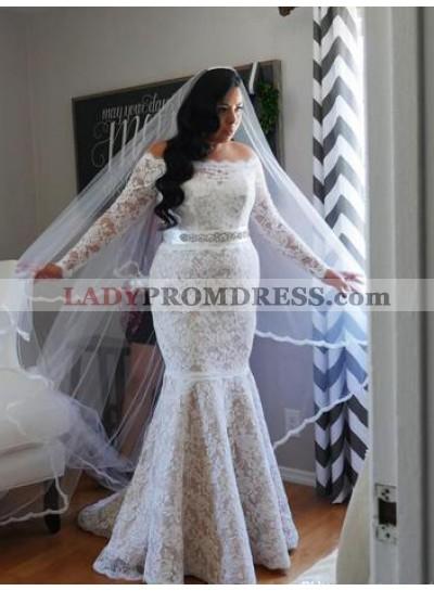 Mermaid Off The Shoulder Long Sleeves Lace Wedding Dresses 2021