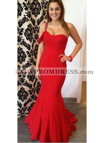 Trumpet/Mermaid One Shoulder Red Satin 2018 Prom Dresses