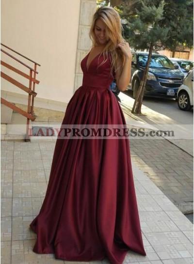 2021 Cheap A-Line/Princess Satin Burgundy Prom Dresses