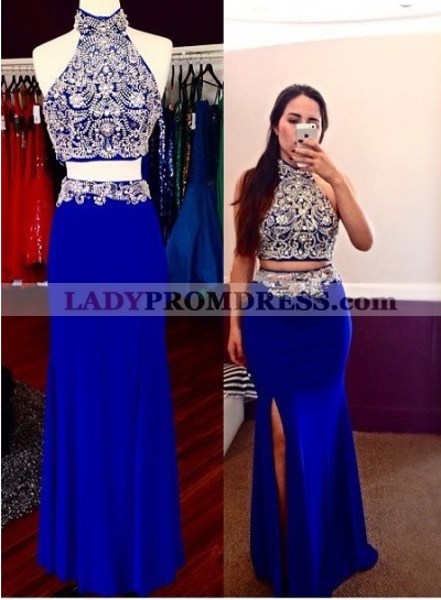 2021 Sheath Royal Blue Two Pieces Beaded Prom Dresses