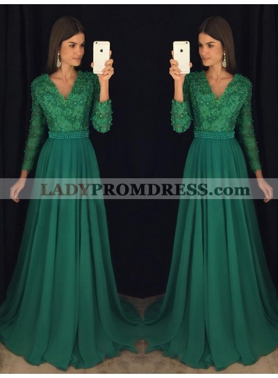 2021 Chiffon A-Line/Princess Hunter V Neck Long Sleeves Prom Dresses