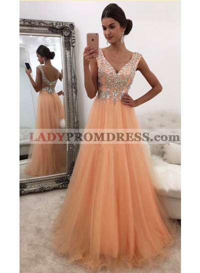 Cheap A-Line/Princess Tulle Organza V Neck 2021 Prom Dresses