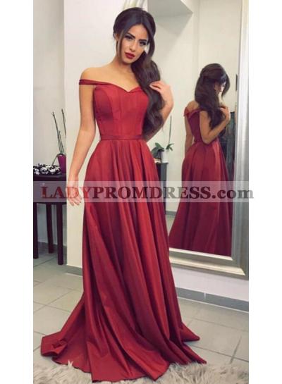 A-Line/Princess Burgundy Satin 2021 Off The Shoulder Prom Dresses