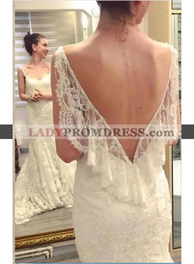 Sexy Backless Lace Sheath Sweetheart Wedding Dresses 2020