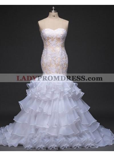 Mermaid Sweetheart Organza Lace Ruffles Wedding Dresses 2021