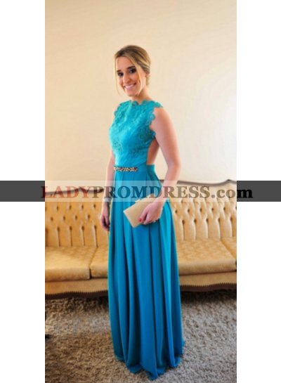 2021 A-Line/Princess Satin Backless Prom Dresses With Appliques
