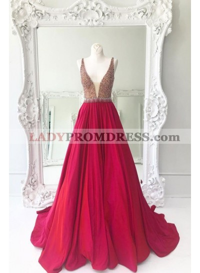 2021 New Arrival Satin A-Line/Princess Red Beaded Prom Dresses