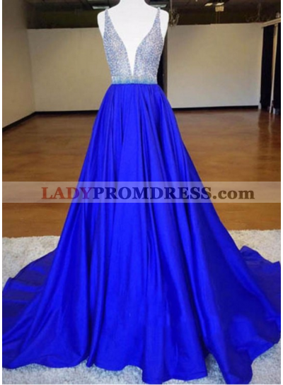 A-Line/Princess Royal Blue Satin 2020 Prom Dresses