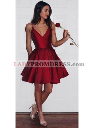 Cute A-Line/Princess Satin Red Knee Length V Neck Short 2021 Prom Dresses