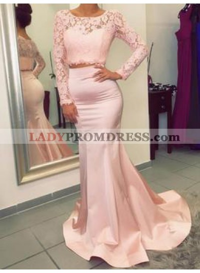 Charming Trumpet/Mermaid Satin Two Pieces Long Sleeves 2019 Prom Dresses