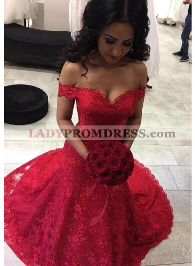 2020 Red Mermaid Sweetheart Lace Wedding Dresses With Straps