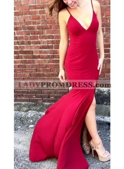 Charming Red Sheath Side Split 2019 Prom Dresses