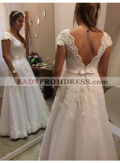 Cheap A Line Capped Sleeves 2020 Lace Wedding Dresses