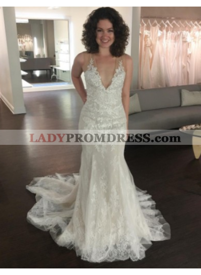 2021 Charming V Neck Sheath Lace Wedding Dresses