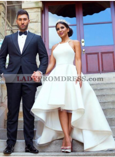 2019 Cheap A Line Satin Plain High Low Short Wedding Dresses