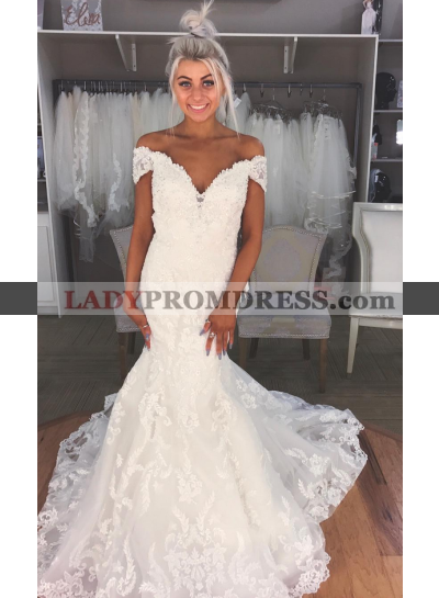 2021 Sexy Mermaid Off The Shoulder Sweetheart Lace Wedding Dresses
