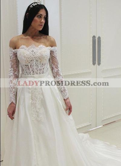 2020 Off The Shoulder Long Sleeves Satin Wedding Dresses