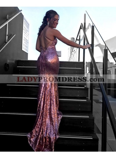 Charming Sequence Backless 2021 Dusty Rose Prom Dresses