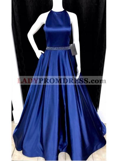 2021 Newly A-Line/Princess Satin Royal Blue Prom Dresses
