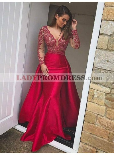 New Arrival Red Long Sleeves Trumpet/Mermaid Satin 2020 Prom Dresses