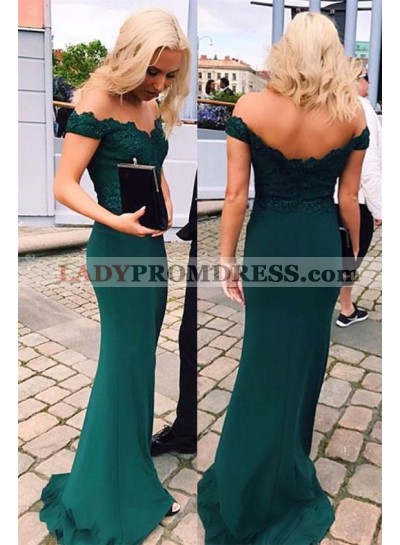 2020 Sheath Dark Green Off The Shoulder Satin Prom Dresses