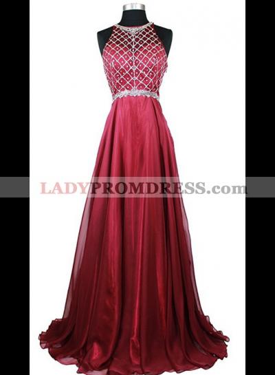 Cheap A-Line/Princess Chiffon Burgundy Beaded 2021 Prom Dresses