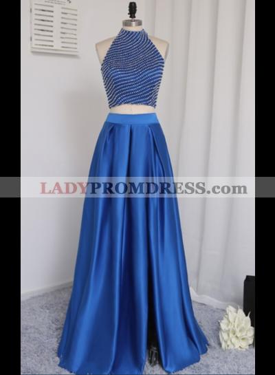 2021 New A-Line/Princess Satin Royal Blue Two Pieces Prom Dresses