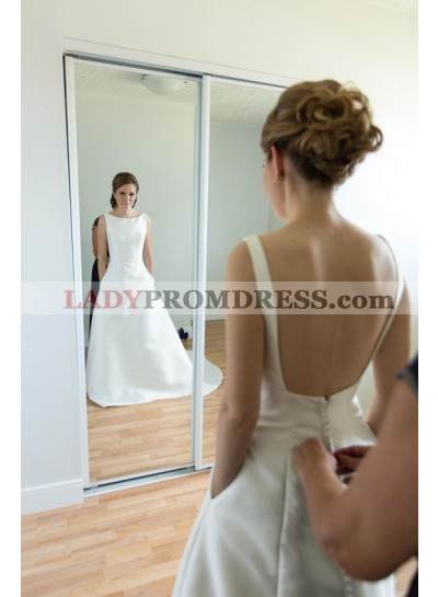 2021 Simple A Line Satin Buttons Backless Wedding Dresses