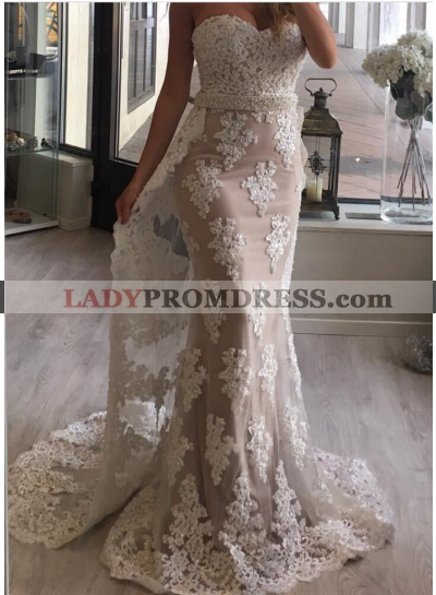 New Arrival Sheath Sweetheart Tulle With Appliques Champagne 2020