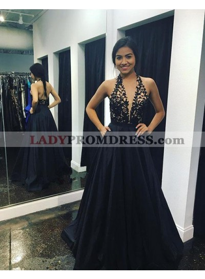 A-Line/Princess Black Halter Backless Prom Dresses With Appliques 2021