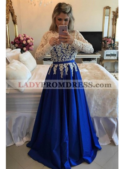 2021 New Arrival A-Line/Princess Satin Royal Blue With White Appliques Long Sleeves Prom Dresses