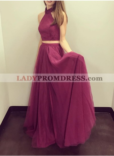 Cheap A-Line/Princess Tulle Burgundy Two Pieces 2020 Prom Dresses