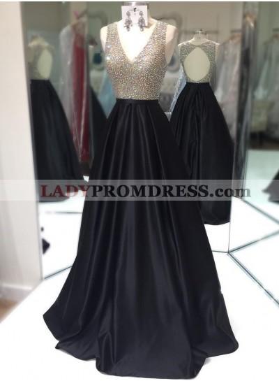 Elegant A-Line/Princess Satin Black Beaded V Neck 2020 Prom Dresses