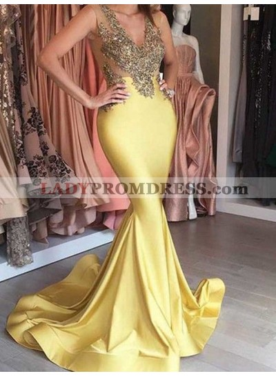 2021 Gold Trumpet/Mermaid Satin Prom Dresses Beaded