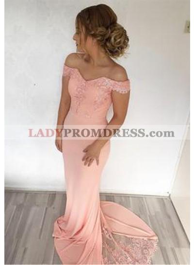 Peach 2021 Satin Off The Shoulder Satin Prom Dresses