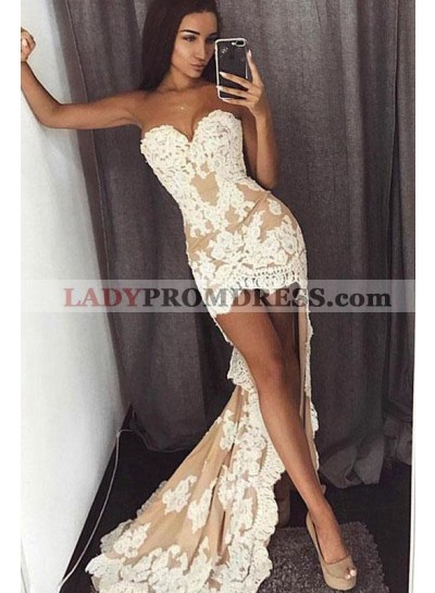 2021 Sheath Champagne High Low Sweetheart Prom Dresses