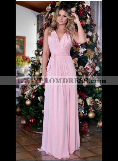 A-Line/Princess Chiffon V Neck Pale Pink 2021 Prom Dresses