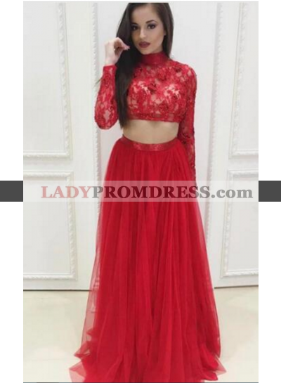 Red A-Line/Princess Long Sleeves Two Pieces Tulle Prom Dresses 2020