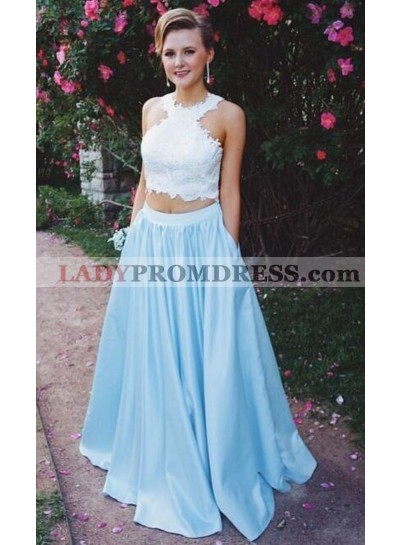 2019 New Arrival A-Line/Princess Satin Blue Two Pieces Prom Dresses