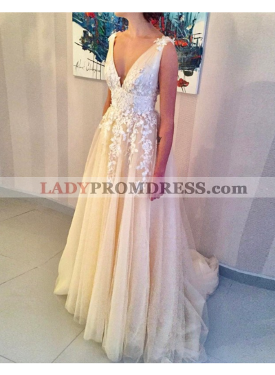 A-Line/Princess Champagne V Neck Tulle 2021 Prom Dresses With Appliques